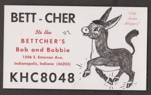 CB QSL Card - Donkey - Bob & Bobbie Bettcher Indianapolis, Indiana