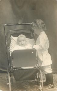 Lil Girl & Baby Sister~Vintage Carriage~Stroller~Curl Ringlets~White~1912 RPPC