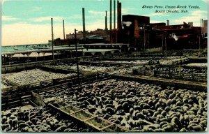 1910s South Omaha, Nebraska Postcard Sheep Pens, Union Stock Yards UNUSED