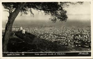 spain, BARCELONA, Vista Parcial desde el Tibidabo (1950s) RPPC