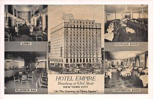 Hotel Empire, Broadway at 63rd St, New York, Early Postcard, unused