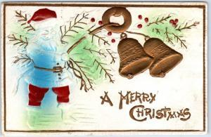 Vintage Christmas Postcard SANTA CLAUS w/ Golden Bells - Airbrushed 1910 Cancel