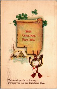 With Christmas Greetings - Winter Scene - Vintage - POSTCARD PC POSTED