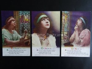 THE ROSARY - WW1 Bamforth Song Cards set of 3 No 4984