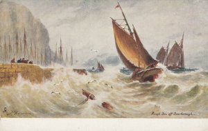 SCARBOROUGH , England , 00-10; Ships in rough sea ; TUCK 6256