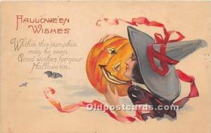 Halloween Postcard Old Vintage Post Card Witch, Pumpkin 1923