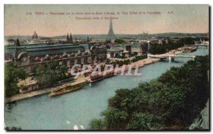 Old Postcard Paris Panorama of the Seine to the Gare d & # 39Orsay the Eiffel...