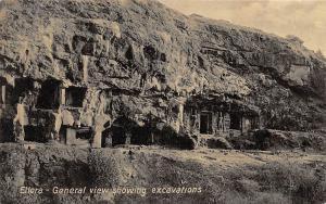India Ellora - General view showing excavations Antique Series