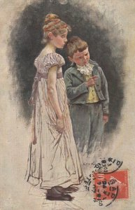 TUCK 1204 ; Prof. Claus Meyer ; Boy & girl discussing something unseen, PU-1907