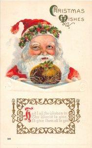 F39/ Santa Claus Merry Christmas Postcard c1910 Bread Holly Hat Gold 2