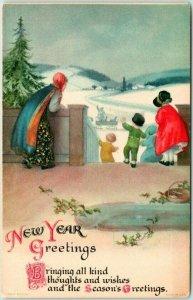 Vintage 1910s  NEW YEAR GREETINGS Postcard Artist-Signed CLAPSADDLE Unused