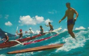 Outrigger Canoe Surfing At Waikiki Hawaii