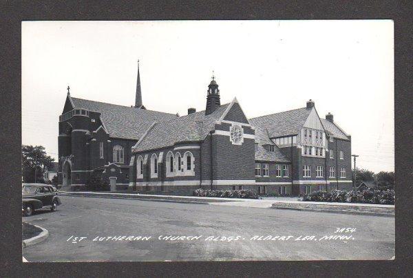 MN 1st Lutheran Church ALBERT LEA Minn Minnesota Postcard Real Photo RPPC  PC