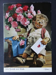 Mecki Hedgehog ROMANCE & FLOWERS THEME c1970/80's Postcard by Diehl Film 345
