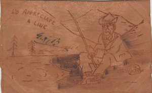 WORCESTER, Massachusetts, 1905; Man fishing, I'd Appreciate A Line