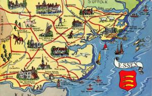 Map Postcard, Essex, Chelmsford, Southend, Clacton, Colchester, Braintree 31S