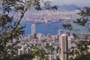 HONG KONG, China, 1950-1970's; Panoramic View Of Kowloon Peninsula And Hong K...