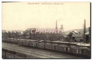Postcard Old Mine Mines Bruay Central Workshops and Central Garage Train