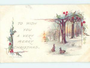 Pre-Linen christmas BUNNY RABBITS IN THE FOREST DURING WINTER HQ6459
