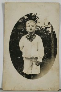 RPPC Serious Looking Toddler Boy w/ Big Bow Hagerstown Md Family Est Postcard K2