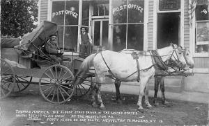 Heuvelton to Macomb NY Oldest Stage Driver Horses & Stage Post Office RPPC
