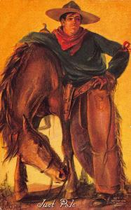 Cowboy and Horse Just Pals Artist Signed Postcard
