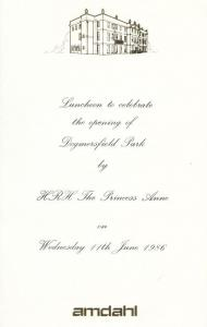 Princess Anne Dogmersfield Park Odiham Hampshire Opening Private Dinner Menu