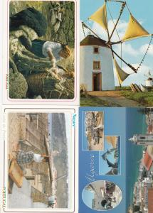 Portugal Portuguese House Windmill & Crafts Dolphin 4x Postcard