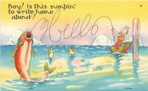 Fantasy~Fish on Hook Makes Line Spell Hello~Clownish Man Laughs~1940s Post Card