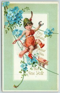 New Year Boy Walks Tight Rope with Pig on Leash~Fortune Favor You~PC272-A~1915