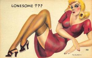 Lonesome Artist Jay Jackson Glamour Girls linen Postcard