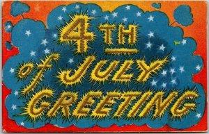 Vintage 1910 FOURTH OF JULY Embossed Patriotic Postcard 4TH OF JULY GREETING