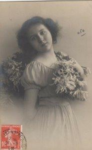 RP: Girl w/ Flowers , France, 1909