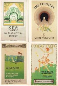 Kew Gardens Windsor Cheap Fares On London Underground 4x Poster Postcard s