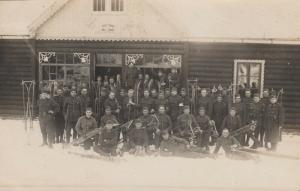 RP, MILITARY, 1920-40s; Men posing outside SAMI SOBE, VOJ 5RUB