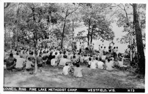 Westfield Wisconsin~Pine Lake Methodist Camp~Council Ring~No Fun~1966 RPPC