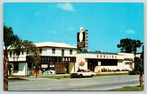 Venice Florida~Myakka Lanes Bowling Alley~Neon Pin Sign~Circus Lounge~1960s