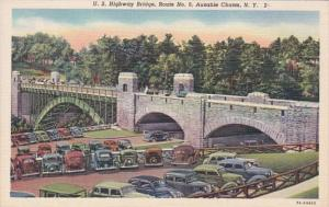 New York Ausable Chasm U S Highway Bridge No 9 1954 Curteich