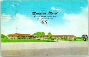 JOPLIN, Missouri Postcard MADISON MOTEL Route Highway 66 Roadside *Front Damage