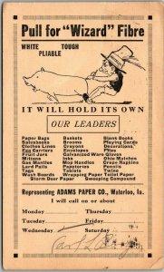 1914 Waterloo, Iowa Advertising Postcard ADAMS PAPER CO Wizard Fibre w/ Cancel