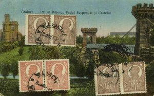 romania, CRAIOVA, Parcul Bibescu Pendul Suspendat şi Castelul (1922) Postcard