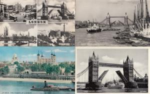 Tower Bridge 4x 1950s London Thames River Real Photo Postcard s