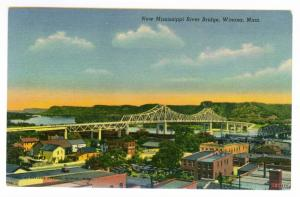 New Mississippi River Bridge, Winona, Minnesota, unused Linen Postcard