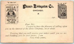 1900s Chicago Adv. Postcard UNCLE JERRY'S PANCAKE FLOUR Pieser-Livingston Co.