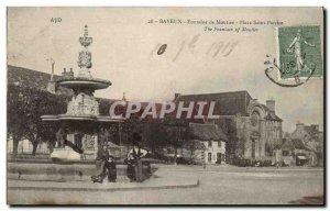 Old Postcard Bayeux Fountain Place Saint Moutier Partice