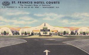 Alabama Montgomery St Francis Hotel Courts 1951