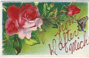 Greetings from Dafter Michigan Pink Roses with Butterfly Vintage Postcard