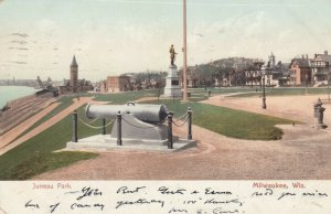 MILWAUKEE , Wisconsin , 1905 ; Juneau Park, Cannon, Monument