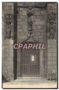 Old Postcard Le Conquet of the church Portal