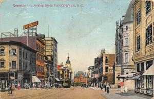 B.C. Granville Street looking North Vancouver, trams, bicycle, bikes, Drysdale